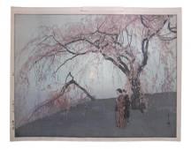 Hiroshi Yoshida - 'Kumoi Cherry Trees'