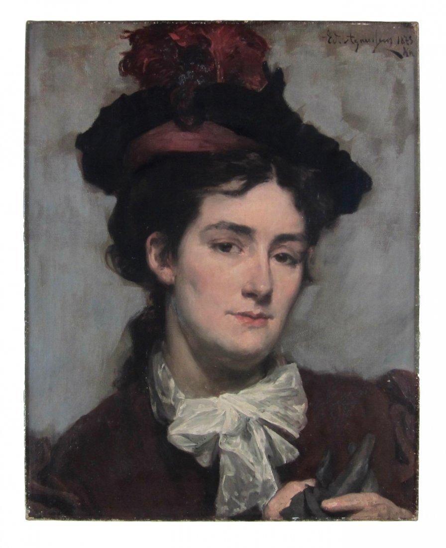 Edouard Agneessens - Portrait of a Woman