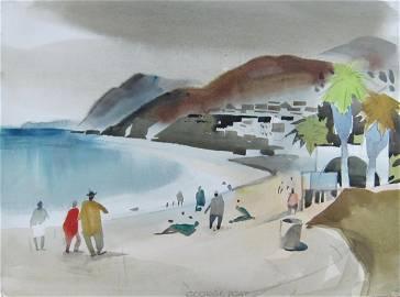 George Post Watercolor - Malibu Beach