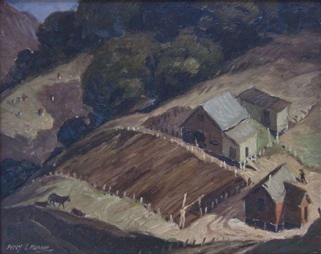 Percy Manser, Oregon farmscape oil on panel, c.1930's