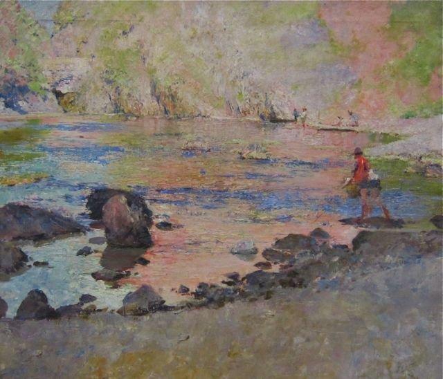 Erich Kips, (German, 1869-1945), Fishing scene