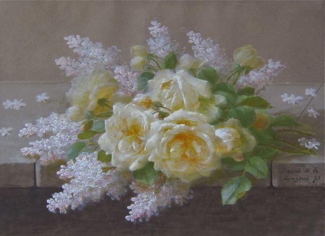 Raoul De Longpre, (French, 1843-1911), Yellow Roses