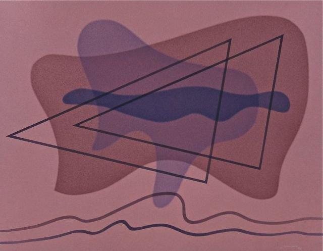 Raymond Jonson, SW Modernist, early watercolor, 1942