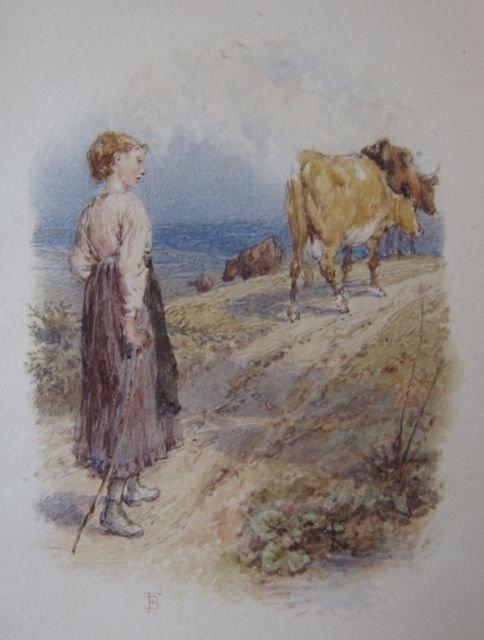 Birket Foster, 19th c., Woman walking a path w/cows