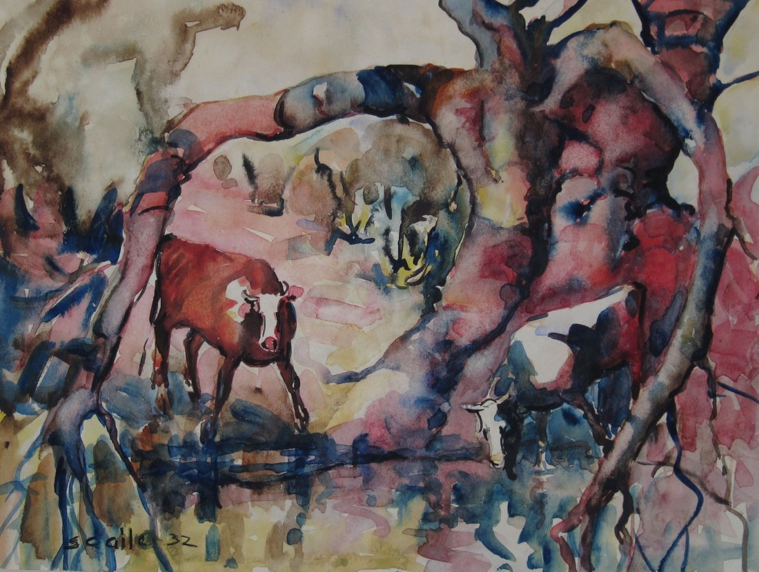 Selden Gile, Watercolor of Cows by a Stream