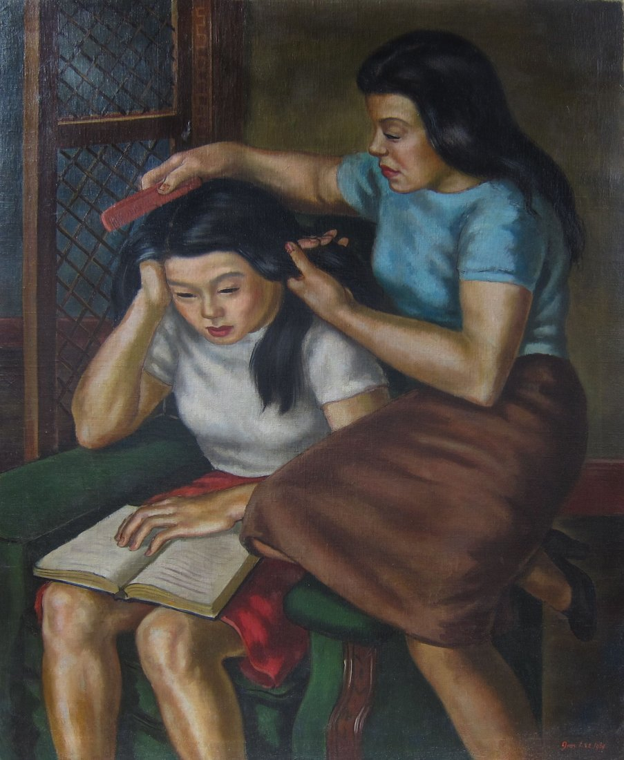 Jim Lee, Chinese/American (1914-?), Combing Hair