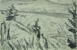 Oscar Bluemner, Modernist landscape drawing with poetry