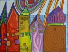 Friedensreich Hundertwasser, Waiting Houses, woodblock