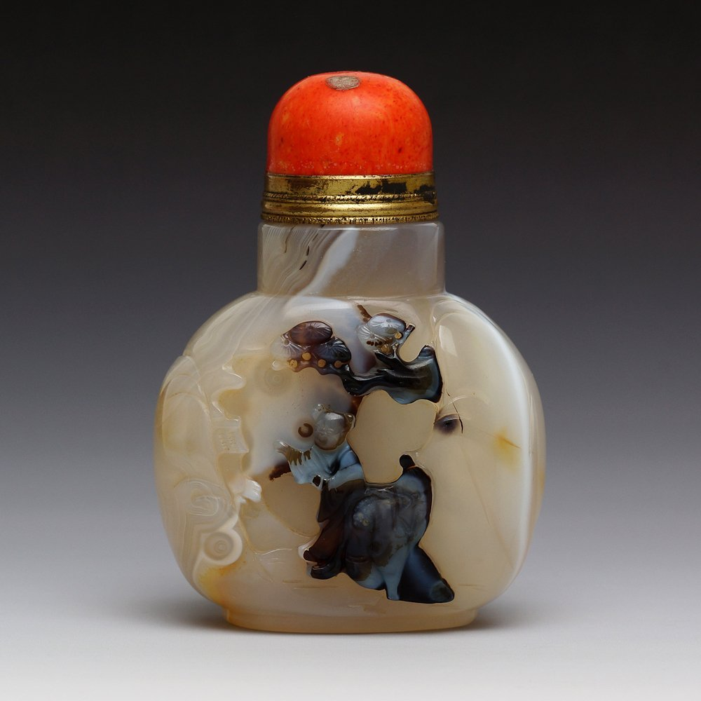 DOUBLE SIDED CARVED CHINESE AGATE SNUFF BOTTLE