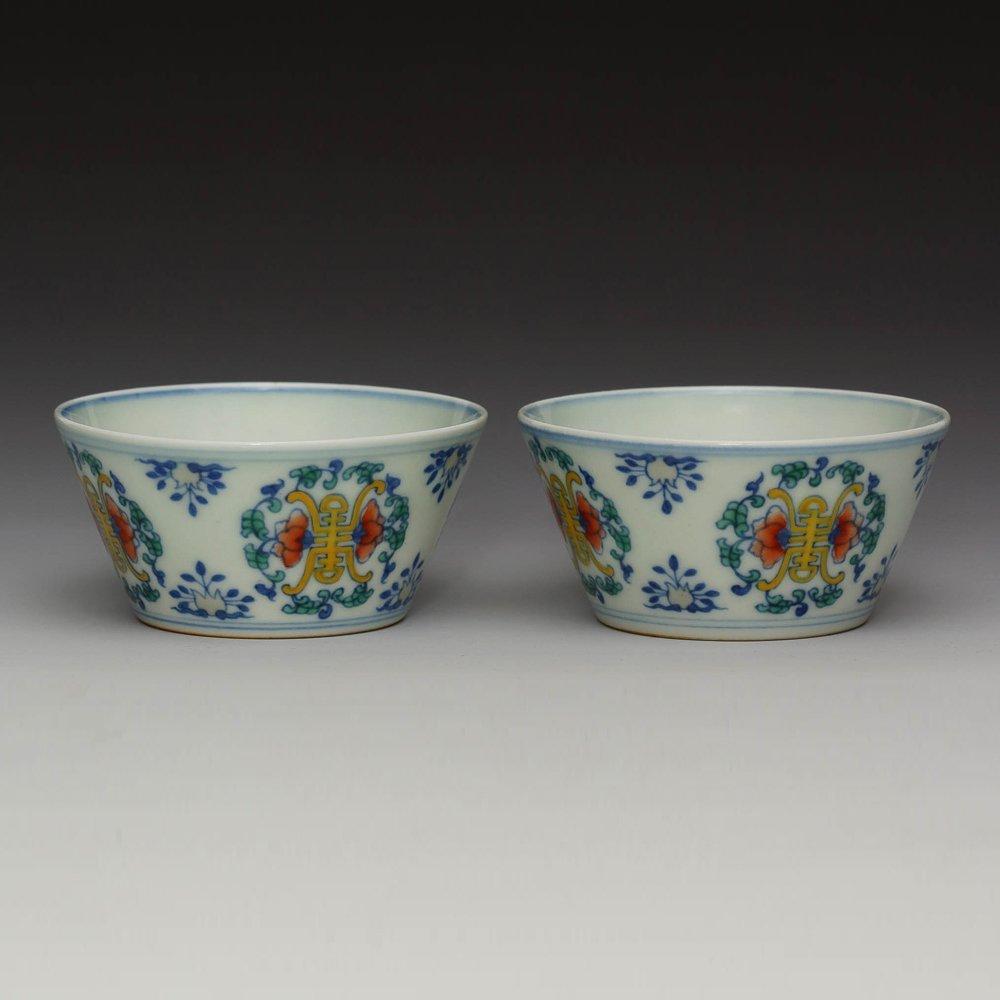 PAIR OF PORCELAIN DOUCAI YONGZHENG MARK CUPS