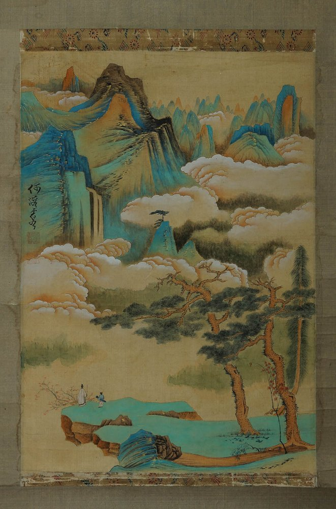 BLUE AND GREEN LANDSCAPE PAINTING BY HE HAIXIA