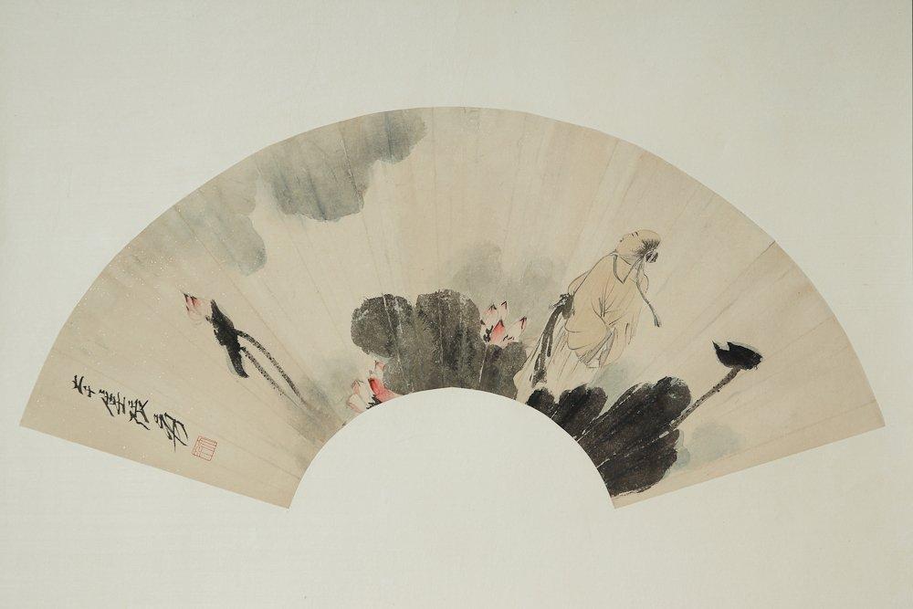 CHINESE FAN FACE PAINTING BY ZHANG DAQIAN