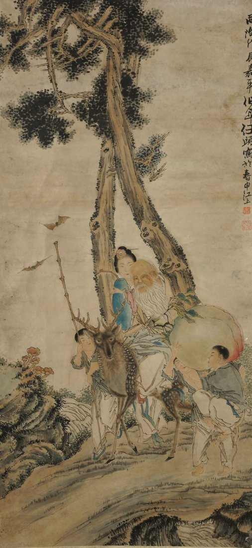 FRAMED CHINESE PAINTING BY REN BONIAN