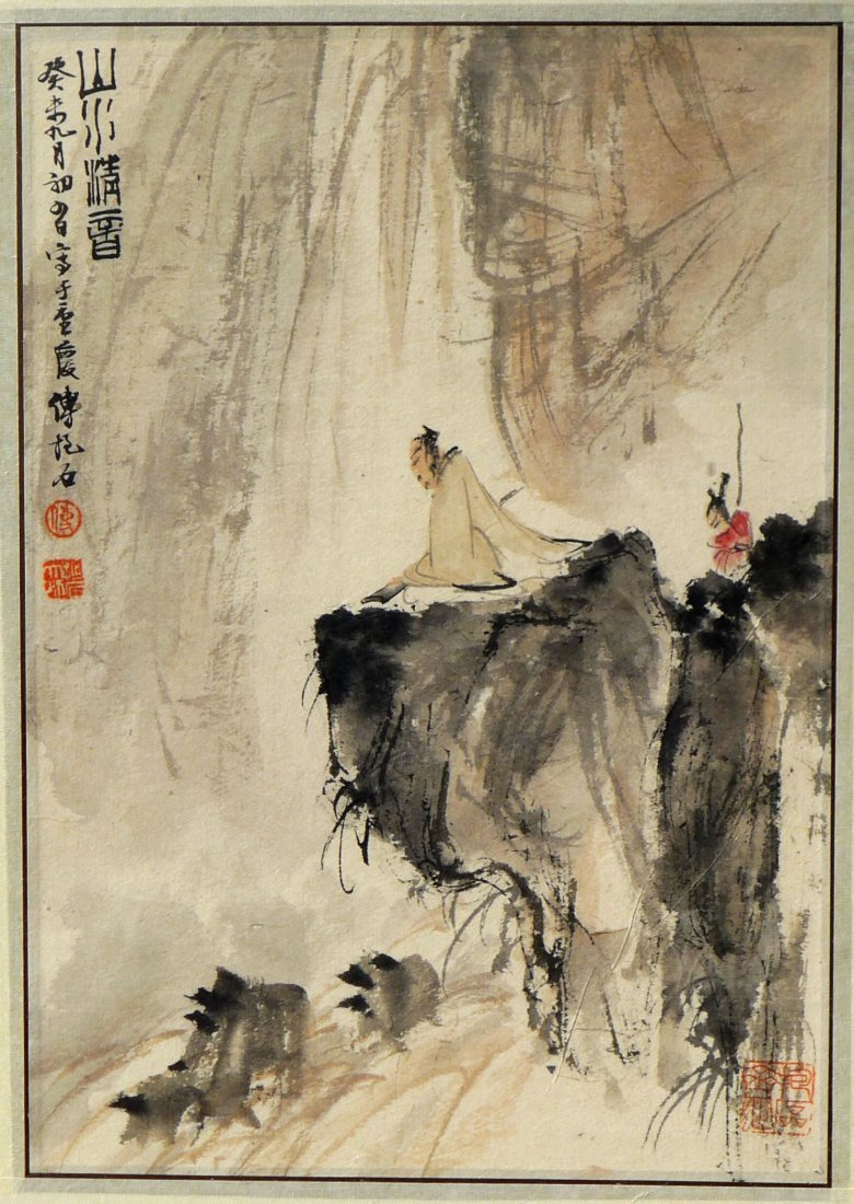 FRAMED CHINESE PAINTING BY FU BAOSHI