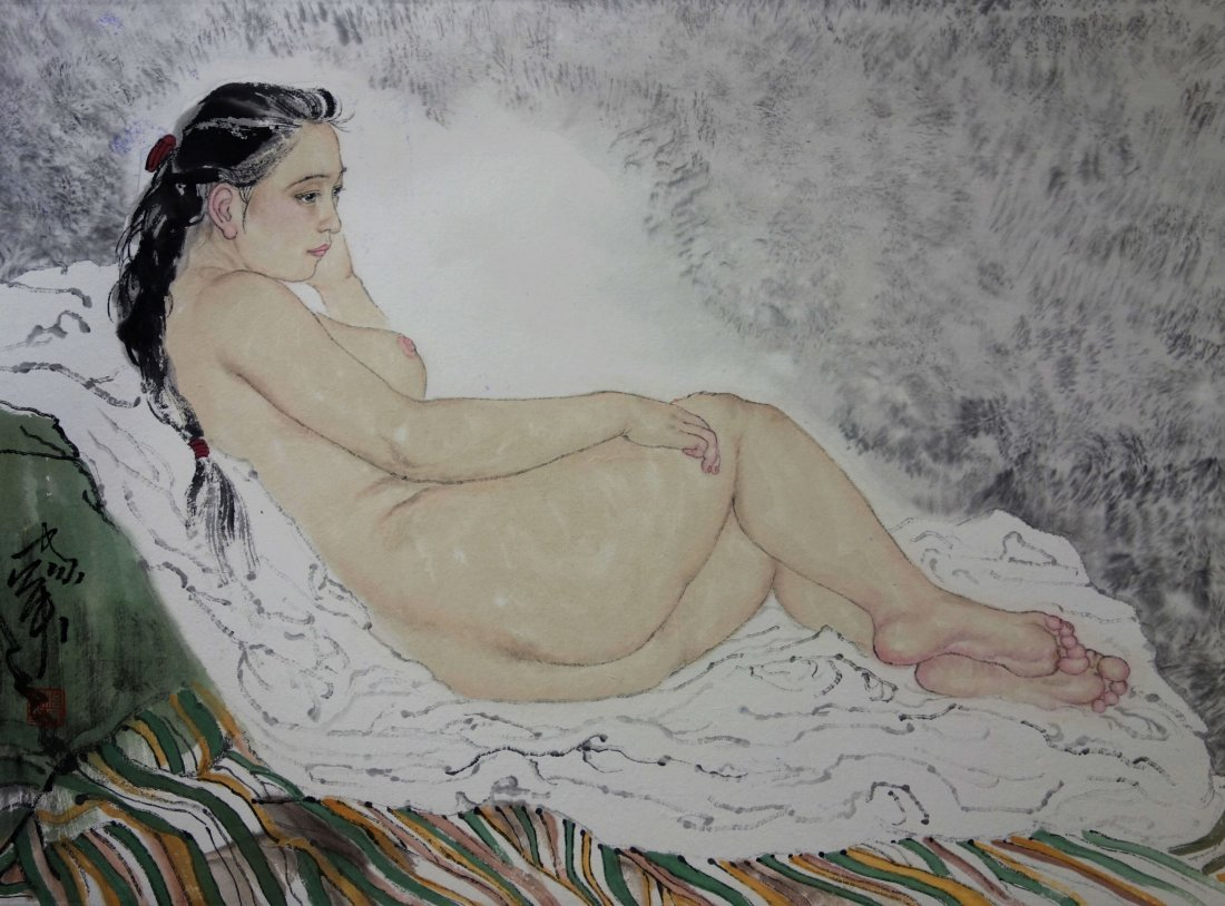 FRAMED CHINESE PAINTING BY HE JIAYING