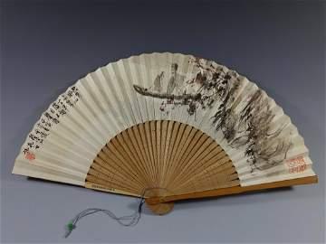 CHINESE PAINTED FAN BY FU BAOSHI