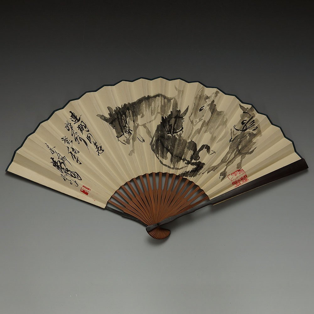 CHINESE PAINTED FAN BY HUANG ZHOU