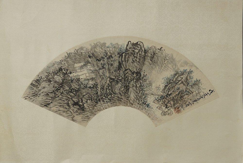 CHINESE FAN FACE PAINTING BY HUANG BINHONG