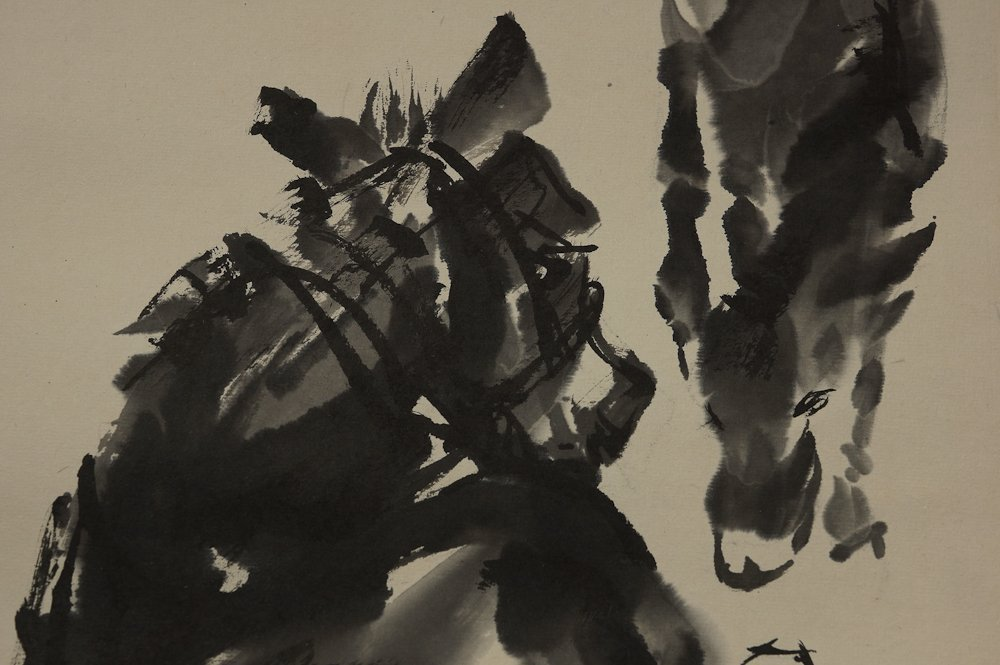 CHINESE DONKEYS PAINTING BY HUANG ZHOU - 2