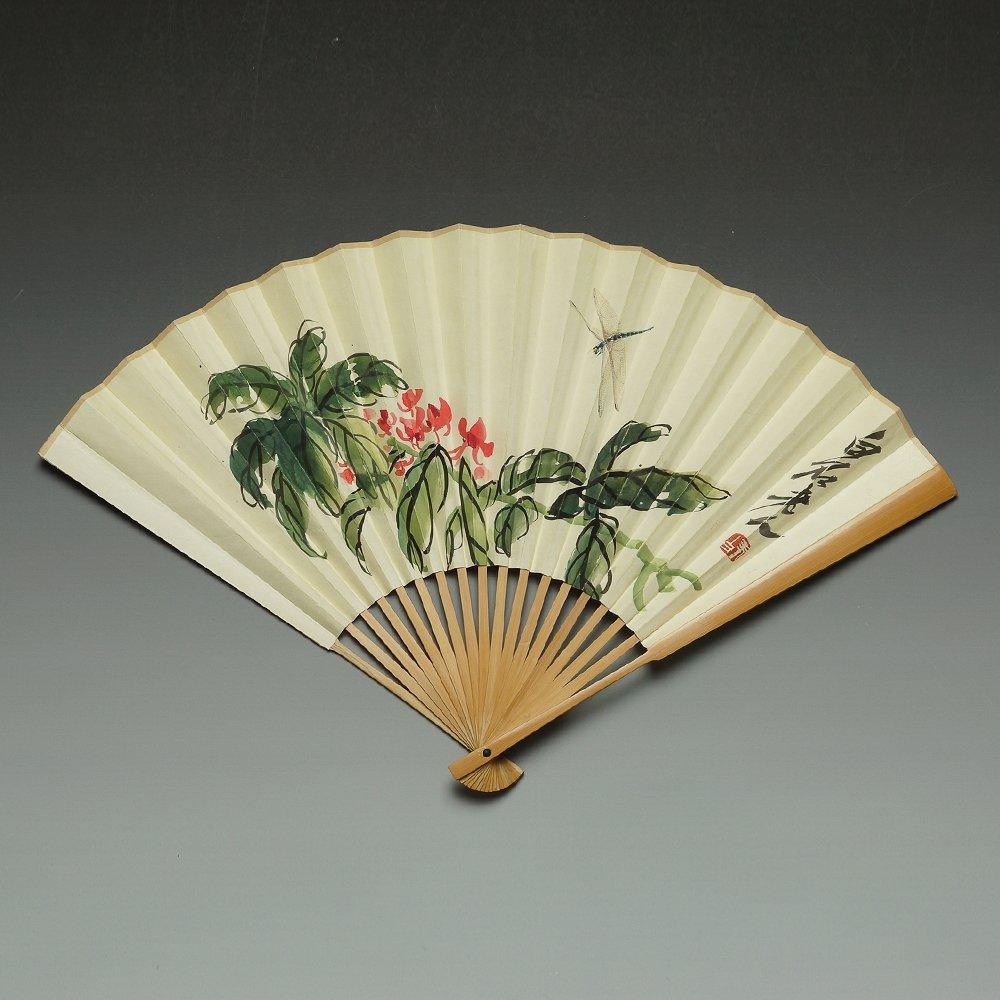 CHINESE PAINTED FAN BY QI BAISHI & XU BANGDA