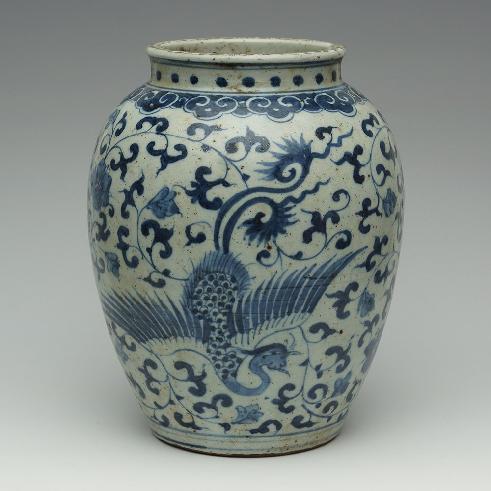 BLUE AND WHITE VASE WITH PHOENIX