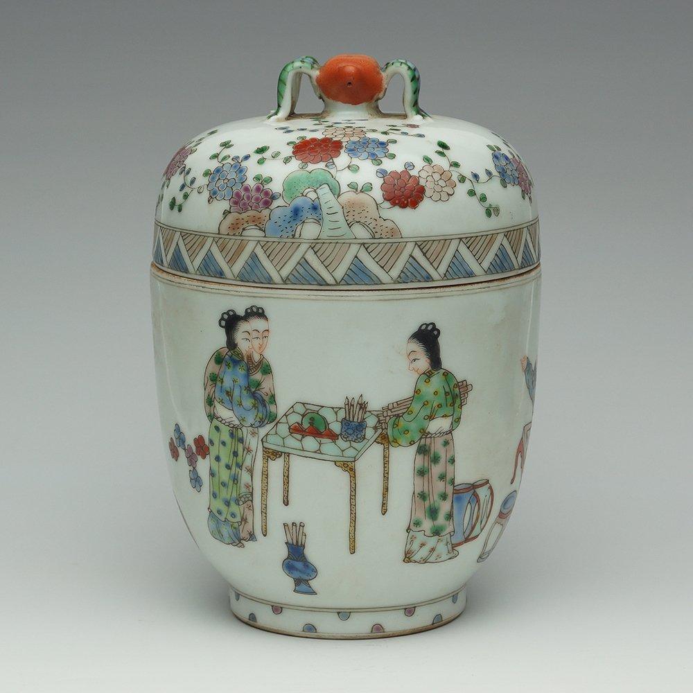 VINTAGE CHINESE ENAMELED PORCELAIN JAR
