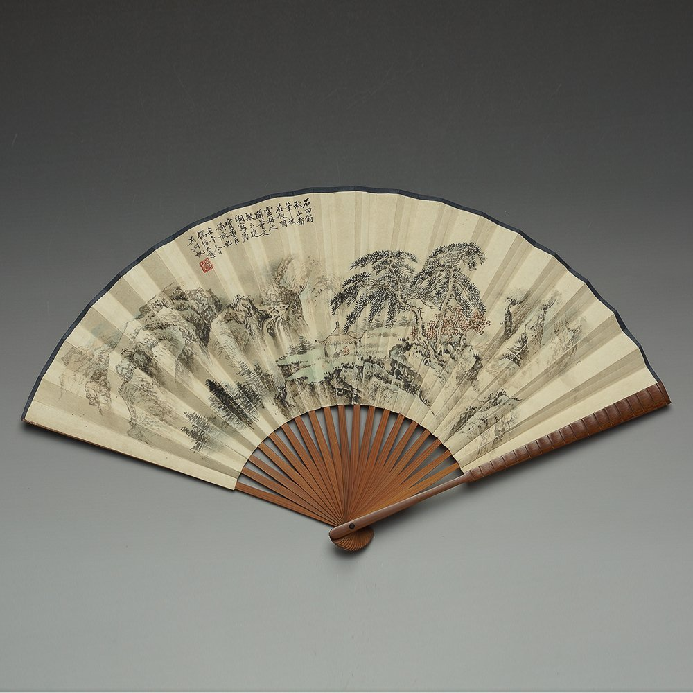 CHINESE PAINTED FAN BY WU HUFAN