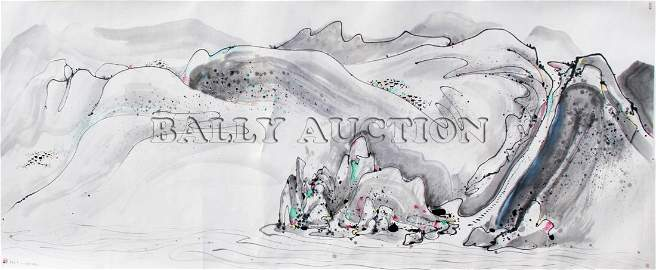 A RARE HUGE CHINESE PAINTING BY WU GUANZHONG