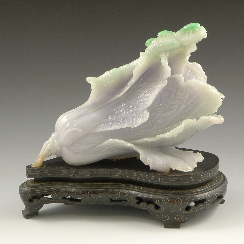 CHINESE CARVED JADEITE CABBAGE GROUP