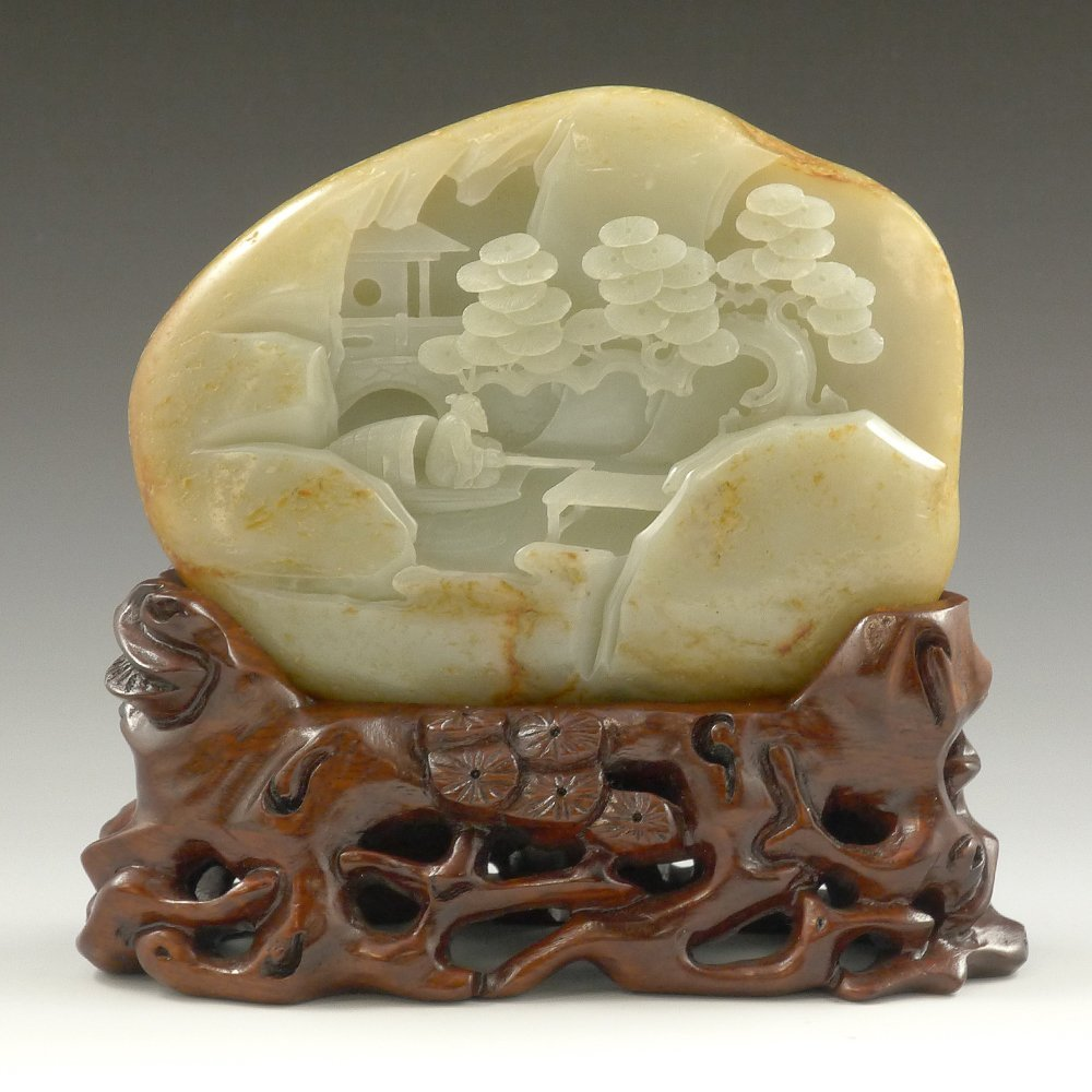 CHINESE CARVED WHITE JADE PEBBLE