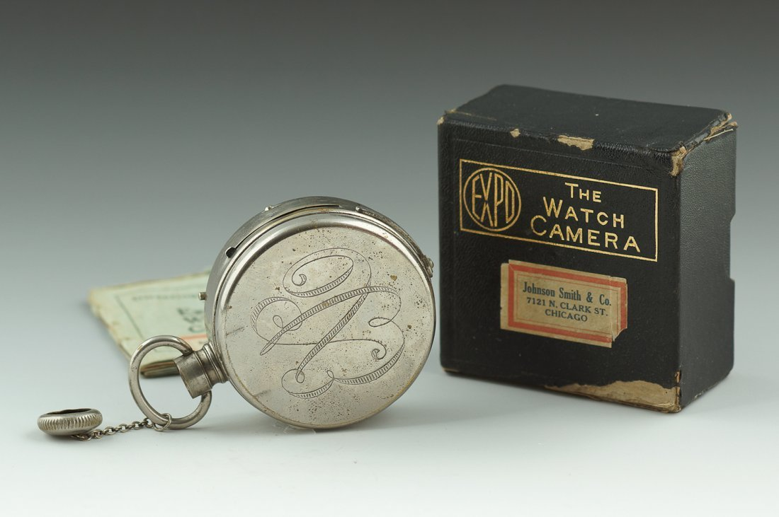 ANTIQUE EXPO NICKLE SILVER WATCH SPY CAMERA
