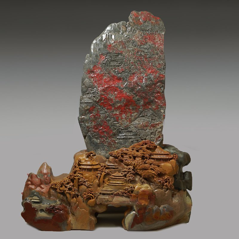 HUGE CHINESE CHANGHUA BLOODSTONE WITH SHOUSHAN STAND