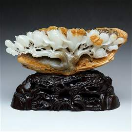 LARGE CARVED NEPHRITE SEED MATERIAL MOUNTAIN