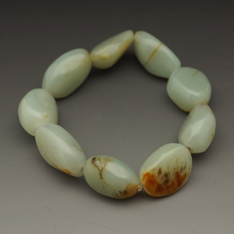 CHINESE NEPHRITE SEED MATERIAL BEADS BRACELET