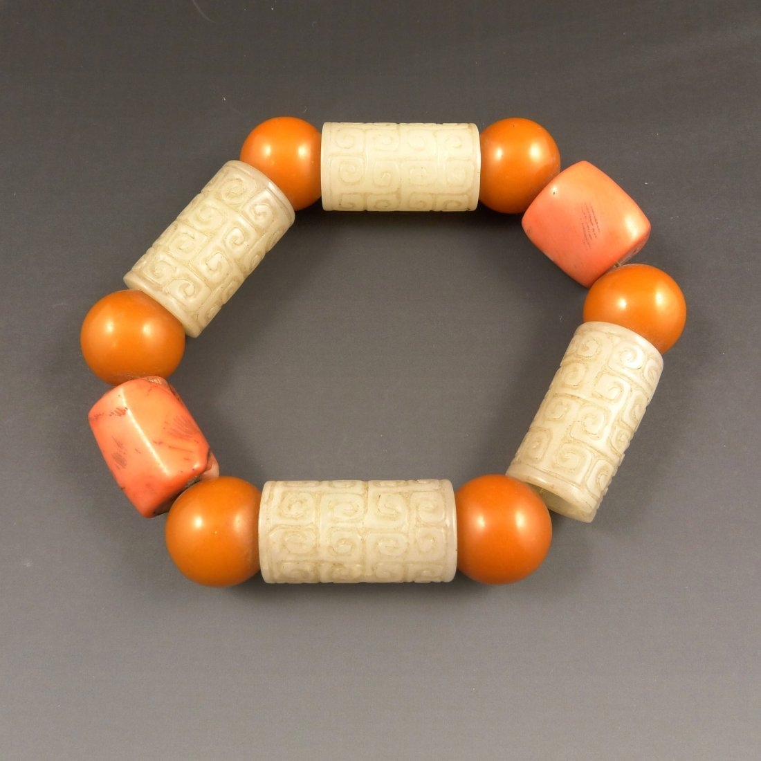 VINTAGE CHINESE NEPHRITE, CORAL & AMBER BEADS