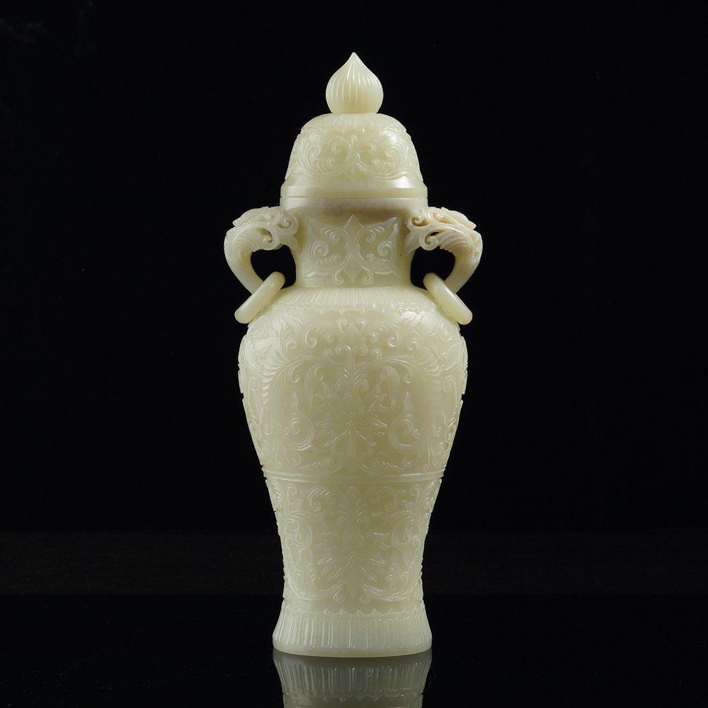 Chinese Hetian white jade two ears two rings vase