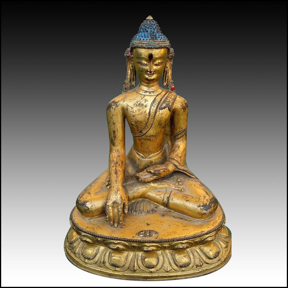 Antique Tibetan Gilt Bronze Buddha