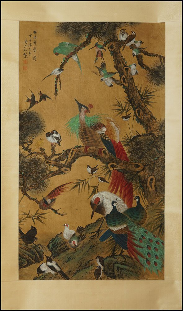 Chinese scroll painting of flowers & birds