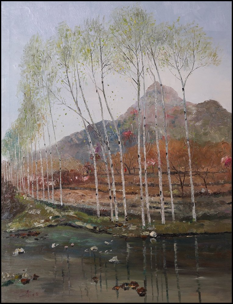 Chinese oil painting of mountain views