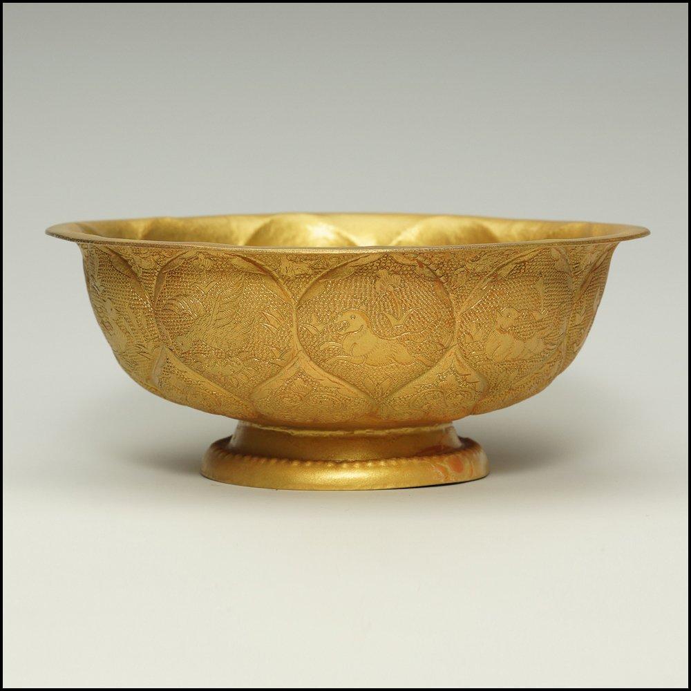 Chinese Beautiful Rare Gilt Engraving Bowl
