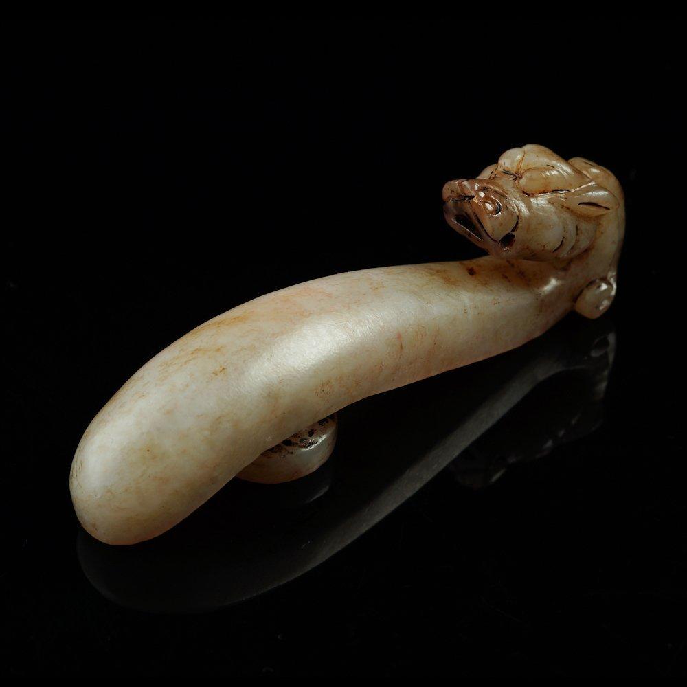 Ancient Hetian jade white dragon hook