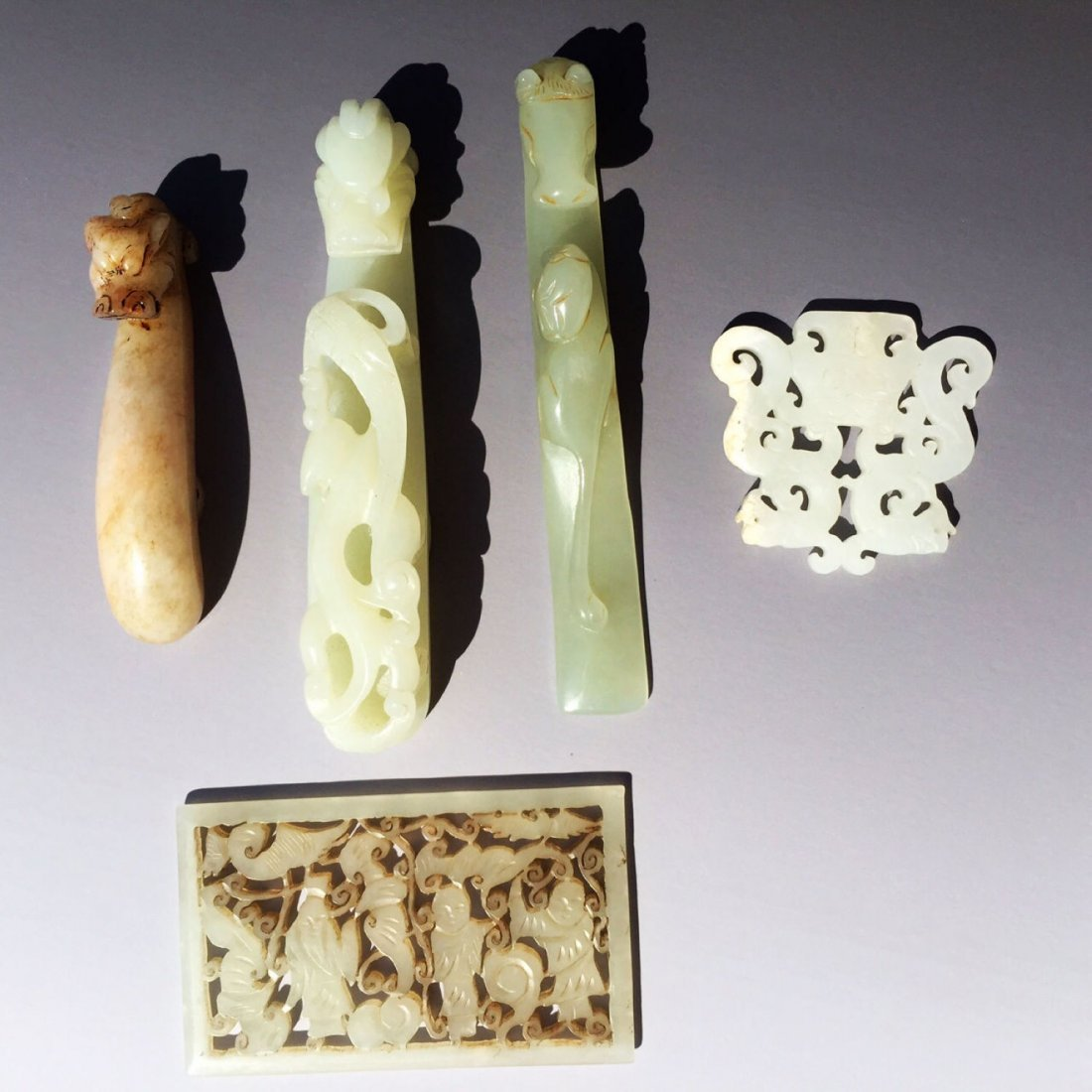 Five Chinese White Jade Nephrite Carved Carving Pendant