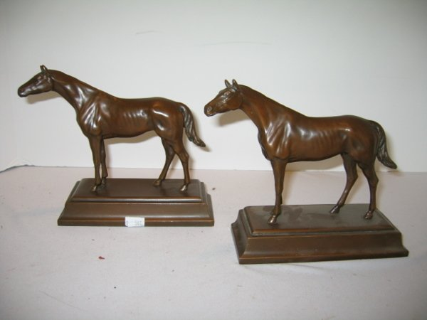 "105: PR. ""BRONZED"" HORSE BOOKENDS, MARKED JB."