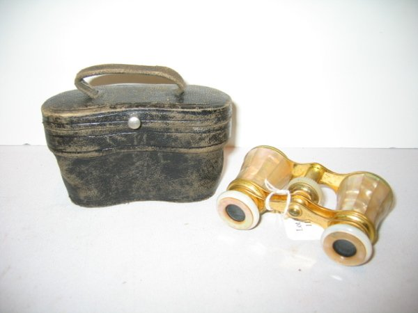 110: FRENCH MOP OPERA GLASSES W/LEATHER CASE