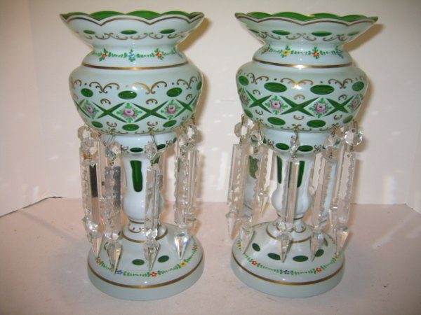 122: PR. GREEN CASED GLASS LUSTRES W/SPEAR PRISMS.