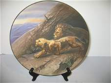 136: NIPPON PLATE W/CROUCHING LIONS, 3-DIMENSIONAL
