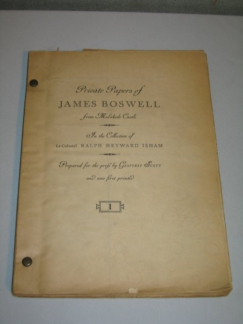 15: PRIVATE PAPERS OF JAMES BOSWELL.9 JOURNAL COLLECTN.
