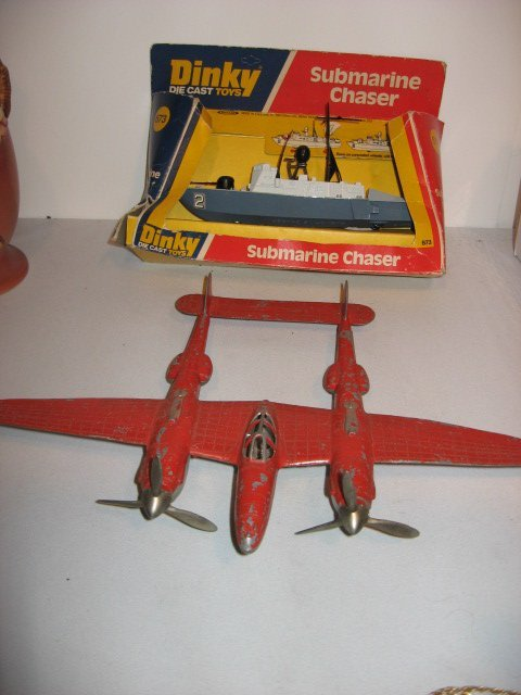 422: 2 EARLY TOYS: DINKY SUB CHASER,HUBLEY METAL PLANE