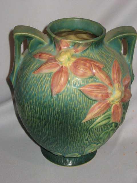 6b Vintage Roseville Clematis Vase No 107 8
