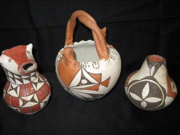17: LOT OF 3 PCS. ACOMA, N.M.  POTTERY, PUEBLO